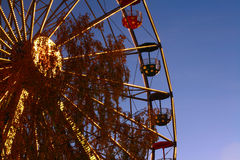 Theme Park. Night time amusement wheel Royalty Free Stock Photography