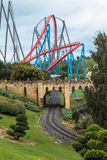 Theme park. Portaventura theme park rides scenic picture ride and rail track Stock Photography
