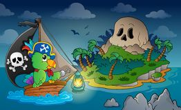 Theme with pirate skull island 1 Stock Image