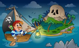 Theme with pirate skull island 2 Royalty Free Stock Photo
