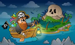 Theme with pirate skull island 3 Stock Photos