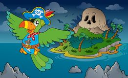 Theme with pirate skull island 4 Royalty Free Stock Images