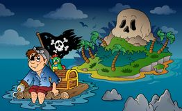 Theme with pirate skull island 5 Stock Photos