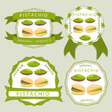 The theme pistachio. Abstract vector illustration logo whole ripe green pistachio nut, cut sliced, product background Stock Photos