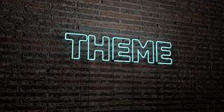 THEME -Realistic Neon Sign on Brick Wall background - 3D rendered royalty free stock image Royalty Free Stock Image