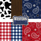 Theme westerns set of seamless patterns. Wild West and Western style design theme set of seamless patterns with cowhides and bandana Stock Photos