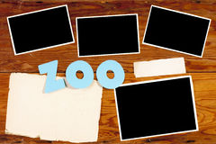 Theme of the zoo. Old wooden surface with a clean sheet of paper for creativity on the theme of the zoo Stock Image