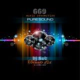 Themed bakgrund för musik för diskoklubbareklamblad Royaltyfri Bild