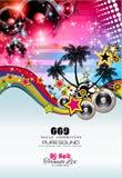 Themed bakgrund för musik som ska användas för diskoklubbareklamblad Fotografering för Bildbyråer