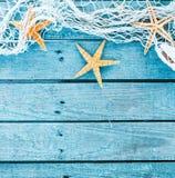 Themed bakgrund för turkosblåttfyrkant för hav Arkivbild
