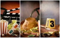 Themed collage för biofilm med filmstöttor arkivfoton