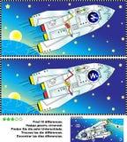 Themed fynd för utforskning av rymden skillnadbildgåtan stock illustrationer
