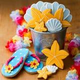Themed kakor för strand arkivbild
