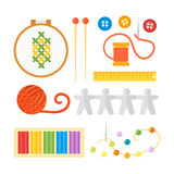 Themed kids creativity creation symbols poster in flat style with artistic objects for children art school fest unusual Stock Photography