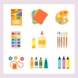 Themed kids creativity creation symbols poster in flat style with artistic objects for children art school fest unusual Royalty Free Stock Photography