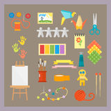 Themed kids creativity creation symbols poster in flat style with artistic objects for children art school fest unusual Royalty Free Stock Photos