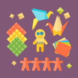 Themed kids origami creativity creation symbols poster in flat style with artistic objects for children art school fest Stock Image
