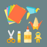 Themed kids origami creativity creation symbols poster in flat style with artistic objects for children art school fest. Unusual toys network vector Royalty Free Stock Images