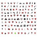 Themed Modieuze Valentijnskaart meer dan 100 pictogrammen Stock Foto's