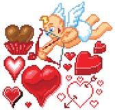 Themed PIXEL Art Icons för valentindag Arkivfoton