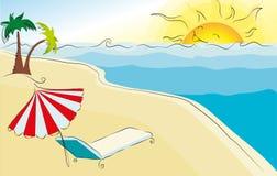Themed strandillustration för sommar Fotografering för Bildbyråer