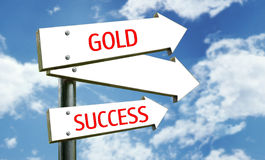 Themed Street Sign. A photo of a street sign with a goldsuccess theme stock photos