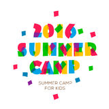 Themed Summer Camp 2016 poster in flat style. Vector illustration Stock Photos