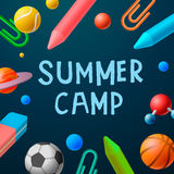 Themed Summer Camp 2016 poster, sport games Royalty Free Stock Image