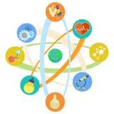 Themed symboler för vetenskap som förläggas i den atom- modellen Set Arkivfoton