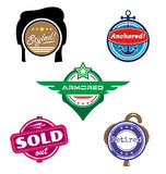 Themed vector badges. Set of themed vector badges styled retired armored sold anchored stock illustration