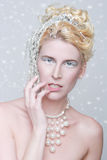 Themenorientierte Eis-Königin-Kosmetik auf einer Schönheit Stockbilder