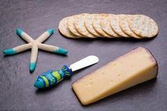 Themenorientierter Nautischmerlot gewürzter Käse mit Crackern Stockbild