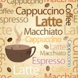 Themenorientierter Typografiehintergrund des nahtlosen Kaffees Stockfotografie