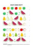 Themenorientiertes pädagogisches Logikspiel der Frucht und der Beere - aufeinander folgende Mustererkennung vektor abbildung