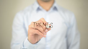 Themes, man writing on transparent screen. High quality Royalty Free Stock Photography