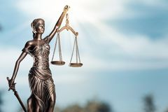 Themi symbol of justice, close-up view. Symbol justice scales of justice criminal law goddess statue white background Royalty Free Stock Photos