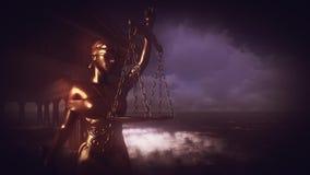 Themis με την κλίμακα και το ξίφος απόθεμα βίντεο