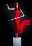 Themis. Statue of justice. Blind Woman with scale and sword stock photo