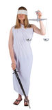 Themis is beauty girl. Young woman with balance and sword as Themis the godness stock photography
