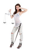 Themis is beauty girl with clipping path. Young woman with balance and sword as Themis the godness isolate on white with clipping path stock images
