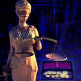 Themis and coins Stock Image