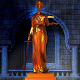 Themis in court. Themis standing in the court Stock Photo