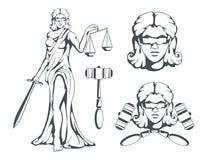 Themis - dea del greco antico di giustizia Bilancia della giustizia disegnata a mano Simboli del femida - giustizia, legge, scale Fotografia Stock Libera da Diritti