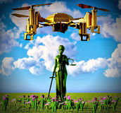 Themis and drone Royalty Free Stock Photos