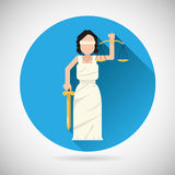 Themis Femida character with scales and sword icon Royalty Free Stock Image