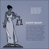 Themis - goddess of justice.Vector illustration Royalty Free Stock Photos