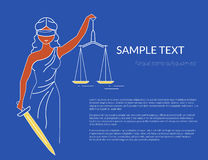 Themis with holding a scale in her hand. Oulined conceptual illustration of goddess of justice. With copy space on blue background. Transparent femida design Stock Images