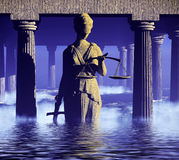 Themis - lady of justice in court Stock Image