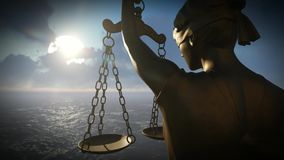Themis with scale and sword stock footage