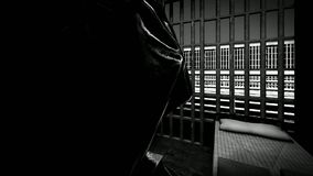 Themis with scale and sword in prison cell stock footage